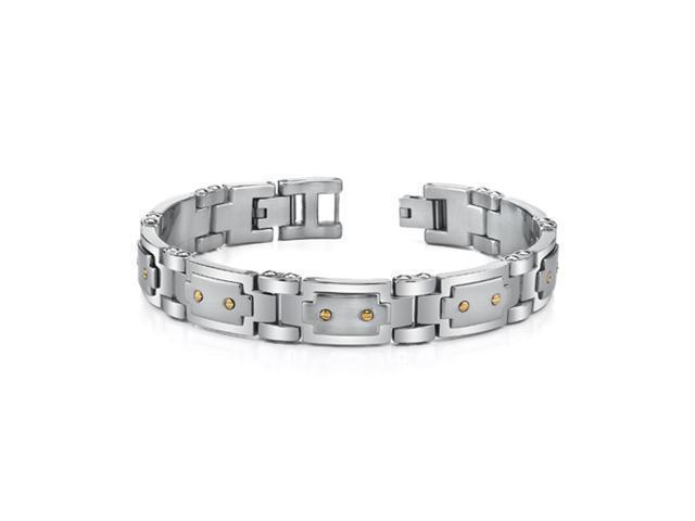 Oravo SB3464 Wrist Hugging Mens Bracelet 18 Karat Gold and Stainless Steel