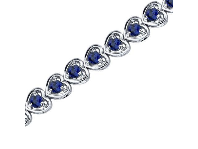 Dainty Hearts: Round Shape Blue Sapphire Gemstone Bracelet in Sterling Silver