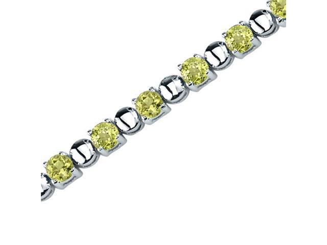 Oravo SB3542 Elegant Style: 6.25 Carats Total Weight Round Shape Peridot Gemstone Bracelet in Sterling Silver