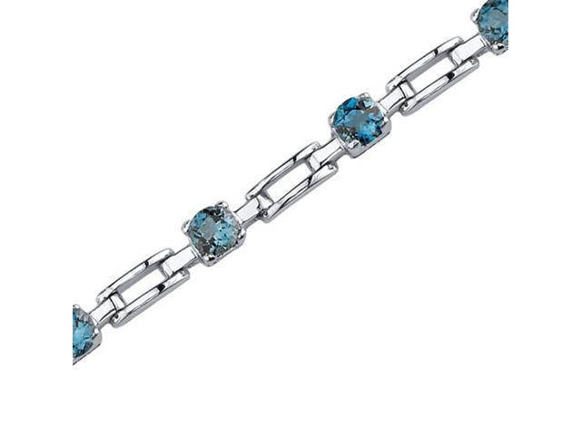 Oravo SB3580 Gorgeous and Chic: 3.00 carats total weight Round Shape London Blue Topaz Gemstone Bracelet in Sterling Silver