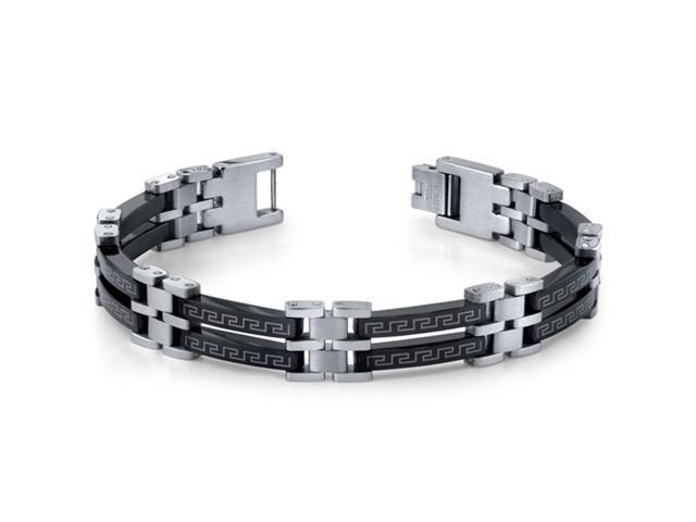 Urban Class: Mens Black and Silver-tone Stainless Steel Greek Key Bracelet