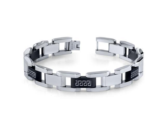 Mens Stainless Steel Black and Silver-tone Greek Key Large Link Bracelet
