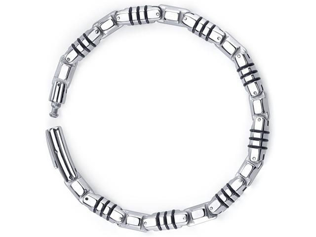 Rugged Elegance: Stainless Steel and Rubber Fancy Link Bracelet for Men