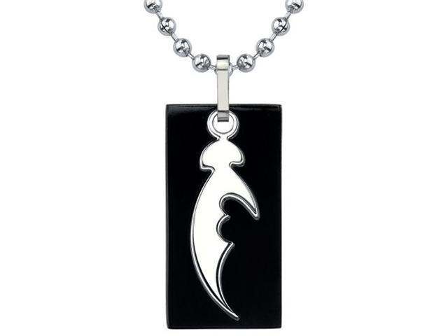 Fascinating Style: Designer Inspired Titanium Cutout Dog Tag Tribal Blade Pattern Pendant on a Stainless Steel Ball Chain