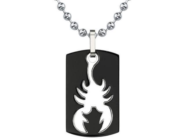 Bold and Passionate: Designer Inspired Dog Tag Gunmetal finish Titanium Pendant for Men with Scorpion Design on a Stainless Steel Ball Chain