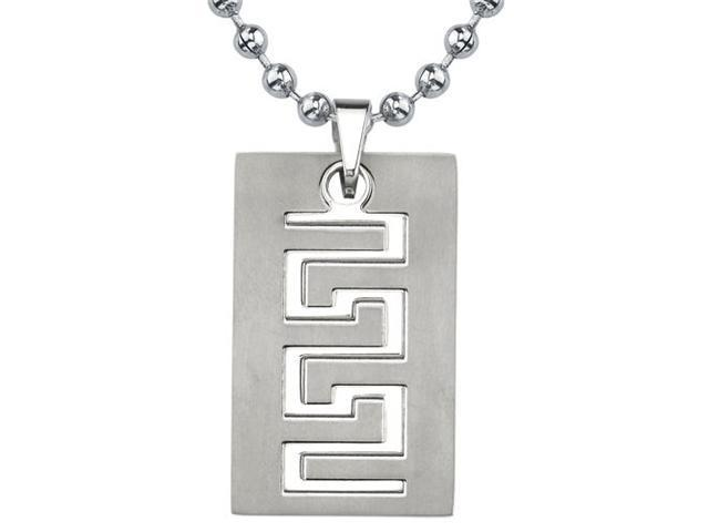 Strong and Distinctive: Designer Inspired Titanium Brushed Finish Greek Key Dog Tag Pendant for Men on a Stainless Steel Ball Chain