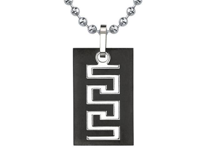 Personality and Distinction: Designer Inspired Titanium Gunmetal Finish Greek Key Dog Tag Pendant for Men on a Stainless Steel Ball Chain