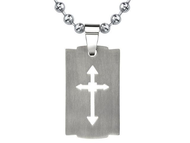 Strong Faith: Designer Inspired Titanium Brushed Finish Cut-out Arrow Cross Razor Bladed Design Dog Tag Pendant on a Stainless Steel Ball Chain for Men