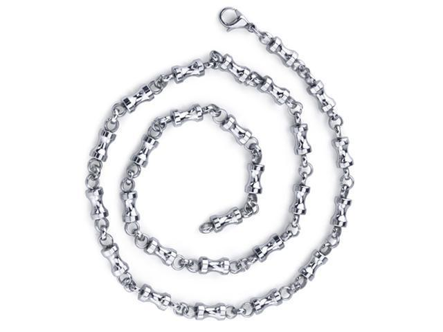 Youthful and Unique: Mens Stainless Steel Dumbbell Link 22 inch Chain Necklace