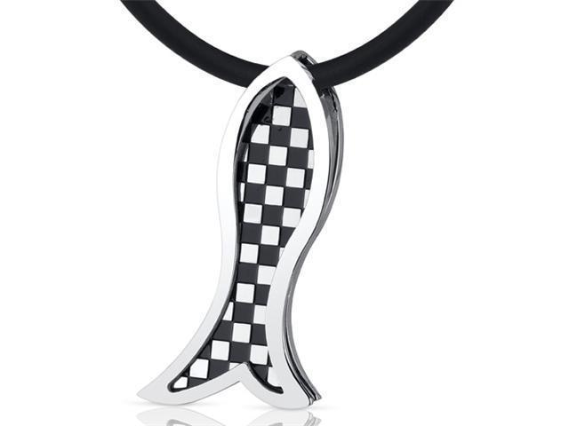 Trendy Impression: Unisex Stainless Steel Checkered Design Fish Slider Pendant Necklace