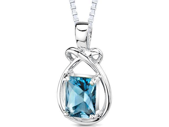 1.75 Carats Genuine Emerald Cut London Blue Topaz Sterling Silver Pendant Necklace