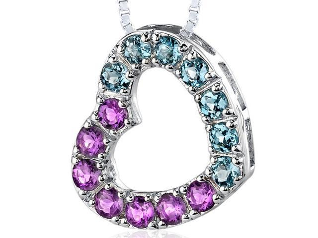 Sterling Silver with 1.75 carats total weight Round shape Amethyst and London Blue Topaz Open Heart Pendant Necklace