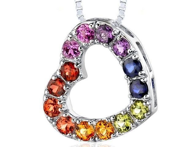 Sterling Silver with 2.00 carats total weight Round shape Rainbow Color Open Heart Pendant Necklace