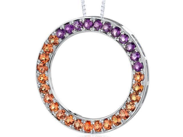 Sterling Silver 3.75 carats total weight Round shape Padparascha Sapphire and Amethyst Circle of Life Pendant Necklace