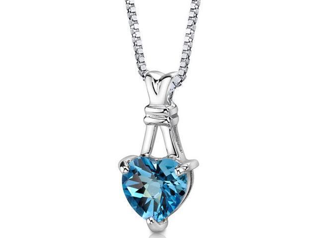 "Oravo SP8584 ""Passionate Pledge"" 3.00 cttw Heart Shape Swiss Blue Topaz Sterling Silver Pendant with 18"" Necklace"
