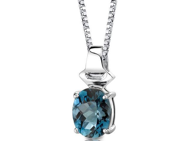 Exquisite Glamour: Sterling Silver 3.00 carats Oval Shape Checkerboard Cut London Blue Topaz Pendant with 18 inch Silver Necklace and