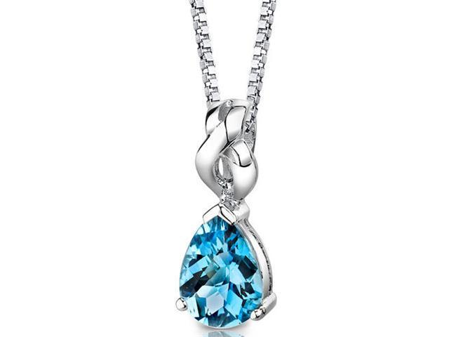 Mysterious Allure: Sterling Silver 2.25 ct. Pear Shape Blue Topaz Pendant with 18 inch Silver Necklace