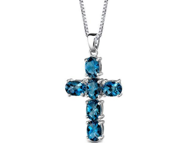 Radiant Glory: Sterling Silver 6.00 carats Oval Shape Checkerboard Cut London Blue Topaz CROSS Pendant with 18 inch Silver Necklace