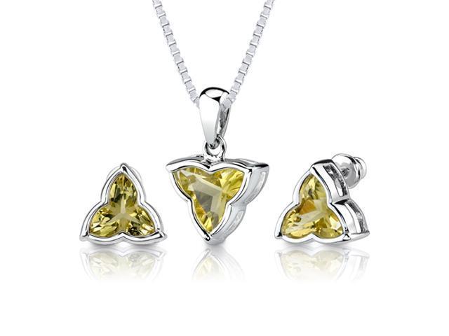 Ultimate Fashion: 6.75 carat Tri Flower Cut Lemon Quartz Pendant Earring Set in Sterling Silver