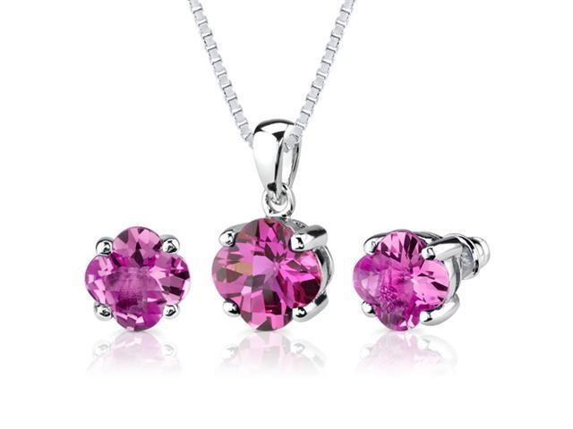 Classic Enchantment: 10.25 carat Checkerboard Lily Cut Pink Sapphire Pendant Earring Set in Sterling Silver