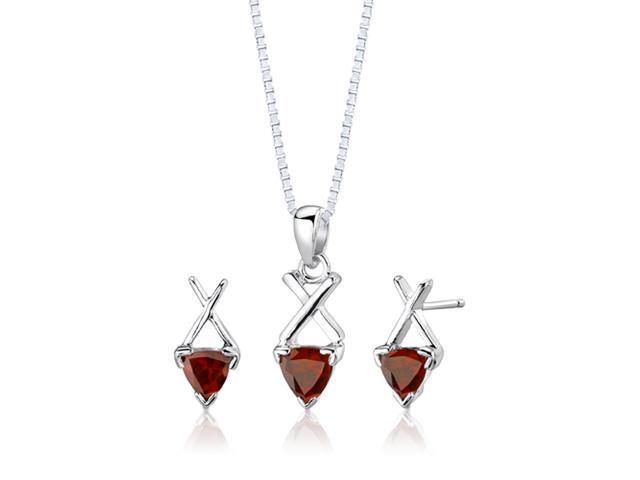 Sterling Silver 2.00 carats total weight Trillion Cut Garnet Pendant Earrings and 18 inch Necklace Set