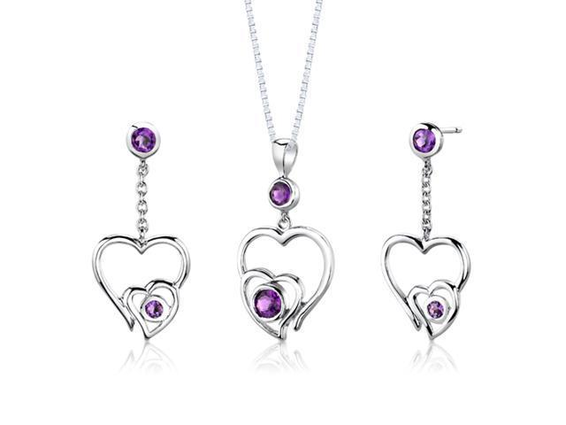 Sterling Silver 1.25 carats total weight Round shape Amethyst Pendant Earrings and 18 inch Necklace Set