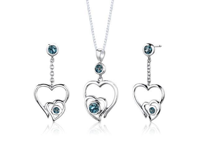 Sterling Silver 1.50 carats total weight Round shape London Blue Topaz Pendant Earrings and 18 inch Necklace Set