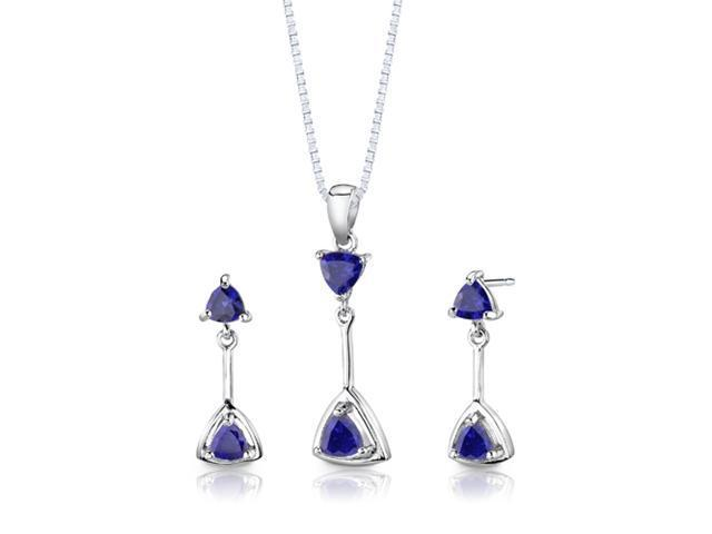 Sterling Silver Trillion Cut Sapphire Pendant Earrings and 18 inch Necklace Set