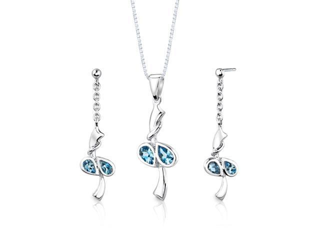 Sterling Silver 2.00 carats total weight Pear Shape Swiss Blue Topaz Pendant Earrings and 18 inch Necklace Set