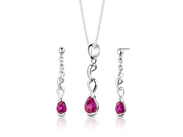 Sterling Silver Pear Shape Ruby Pendant Earrings and 18 inch Necklace Set