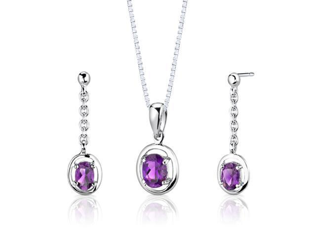 Sterling Silver 1.50 carats total weight Oval Shape Amethyst Pendant Earrings and 18 inch Necklace Set