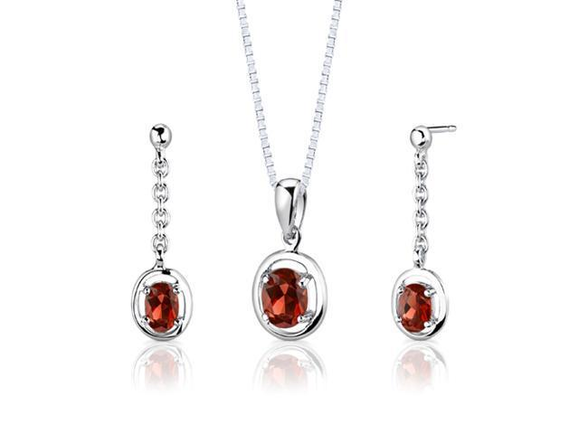 Sterling Silver 2.00 carats total weight Oval Shape Garnet Pendant Earrings and 18 inch Necklace Set