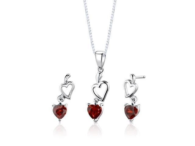 Sterling Silver 2.00 carats total weight Heart Shape Garnet Pendant Earrings and 18 inch Necklace Set
