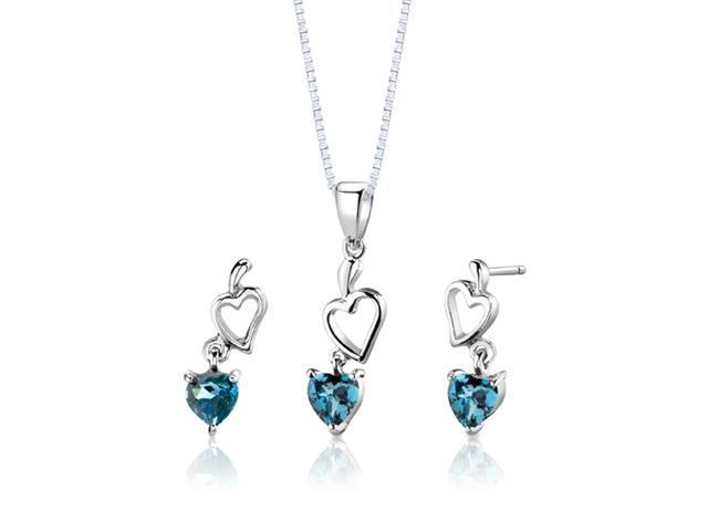 Sterling Silver 2.00 carats total weight Heart Shape London Blue Topaz Pendant Earrings and 18 inch Necklace Set