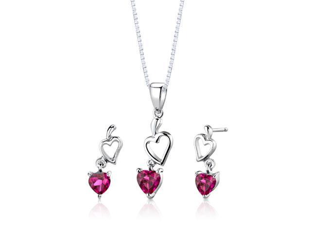 Oravo SS2744 Heart Cut Created Ruby Sterling Silver Pendant Earrings and 18