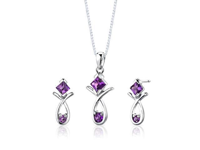 Sterling Silver 1.50 carats total weight Multishape Amethyst Pendant Earrings and 18 inch Necklace Set