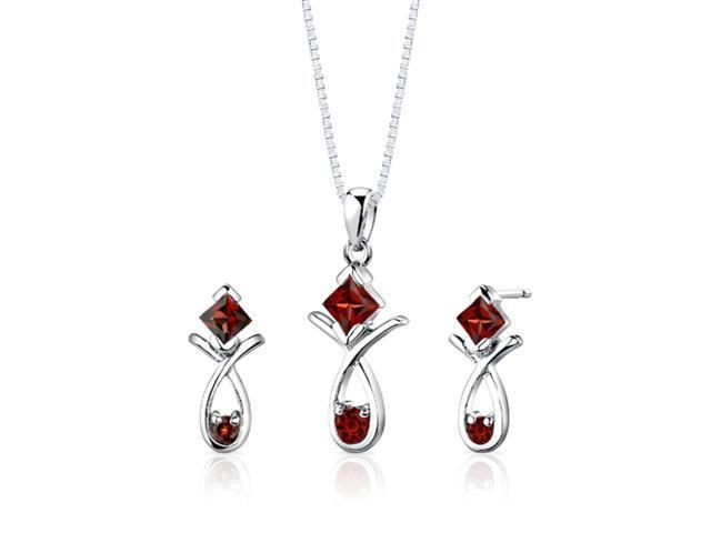 Sterling Silver 2.00 carats total weight Multishape Garnet Pendant Earrings and 18 inch Necklace Set