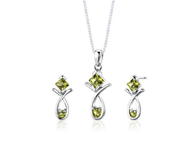 Sterling Silver 2.00 carats total weight Multishape Peridot Pendant Earrings and 18 inch Necklace Set