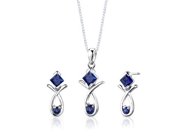 Sterling Silver Multishape Sapphire Pendant Earrings and 18 inch Necklace Set