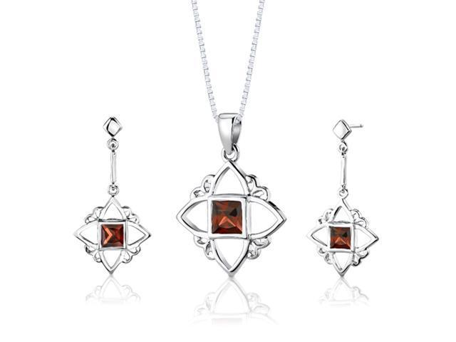 Sterling Silver 2.75 carats total weight Princess Cut Garnet Pendant Earrings and 18 inch Necklace Set