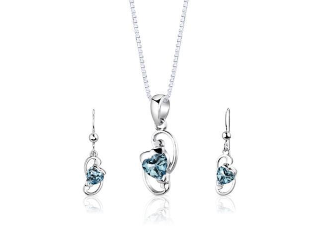 Oravo Sterling Silver 2.25 Carats Total Weight Heart Shape Swiss Blue Topaz Pendant Earrings and 18 inch Necklace Set