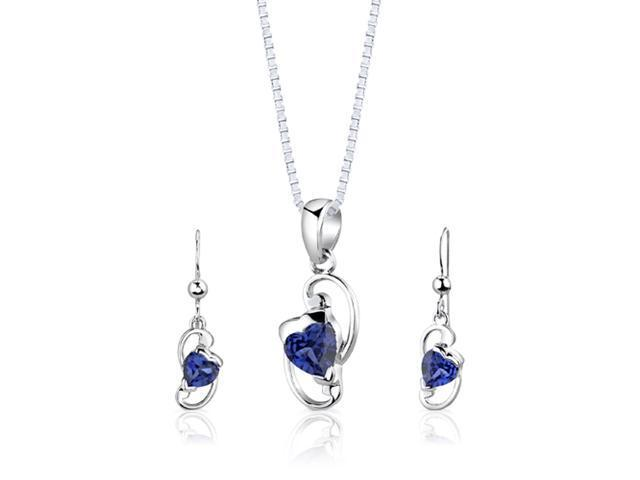 Sterling Silver Heart Shape Sapphire Pendant Earrings and 18 inch Necklace Set