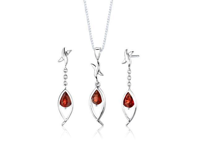 Sterling Silver 2.25 carats total weight Pear Shape Garnet Pendant Earrings and 18 inch Necklace Set