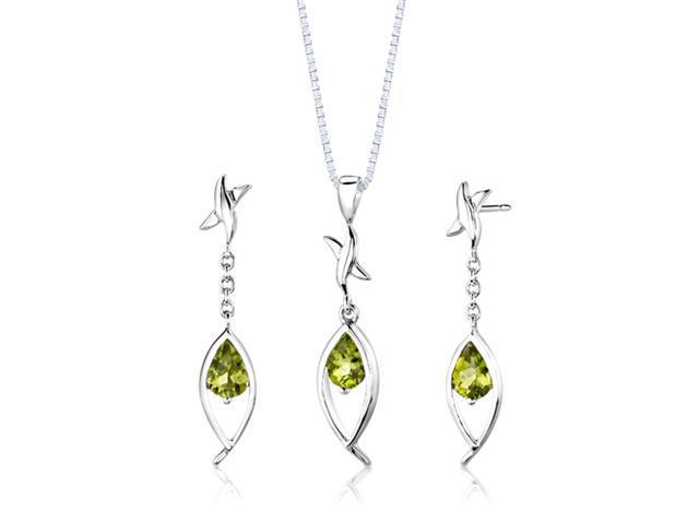 Sterling Silver 2.00 carats total weight Pear Shape Peridot Pendant Earrings and 18 inch Necklace Set