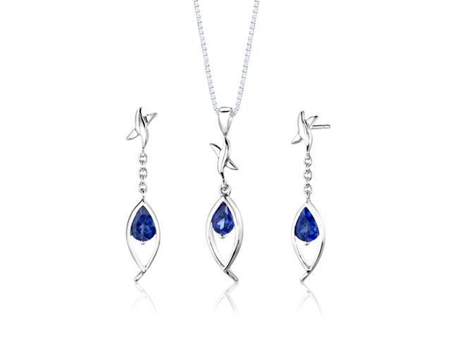 Sterling Silver Pear Shape Sapphire Pendant Earrings and 18 inch Necklace Set
