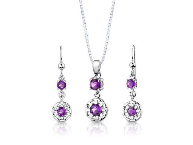 Sterling Silver 2.00 carats total weight Round Shape Amethyst Pendant Earrings and 18 inch Necklace Set