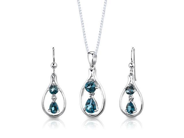 Sterling Silver 3.00 carats total weight Multishape London Blue Topaz Pendant Earrings and 18 inch Necklace Set