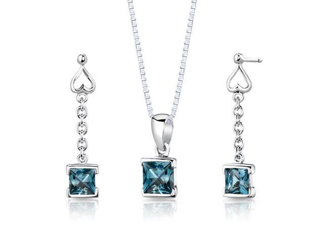 Oravo SS2938 2.75 Ct. TW. Princess Cut London Blue Topaz Pendant and Earrings Set