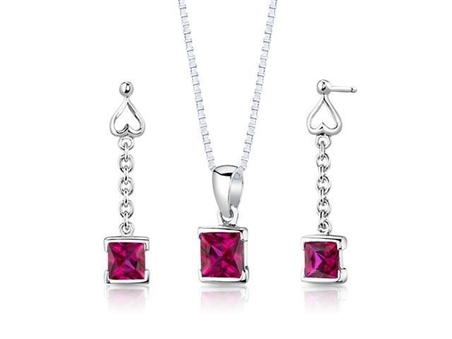 Oravo SS2940 Princess Cut Created Ruby in Sterling Silver Pendant Earrings and 18