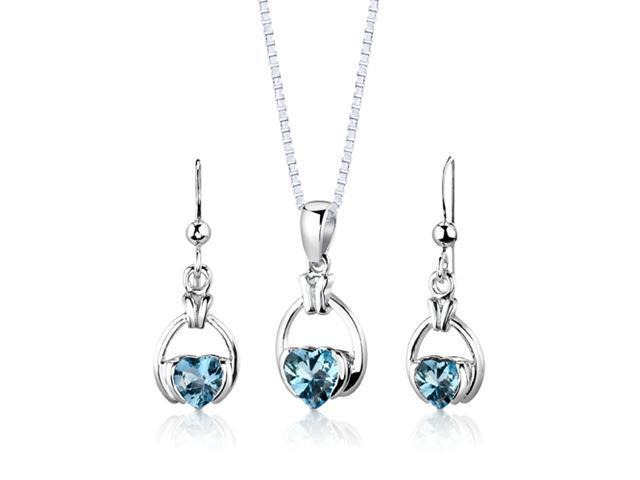 Sterling Silver 2.25 carats total weight Heart Shape Swiss Blue Topaz Pendant Earrings and 18 inch Necklace Set